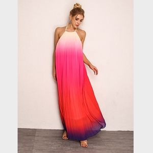 Backless Ombre Halter Maxi Dress